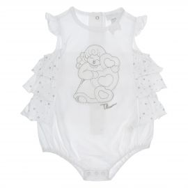 "THUN & OVS ""Sweet Angel"" short baby girl's romper suit in organic cotton - 1-3 months"