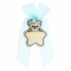 Customizable heart-shaped rosette for birth of baby boy with Koala