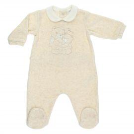 THUN & OVS Teddy hug beige romper in organic cotton, 3-6months