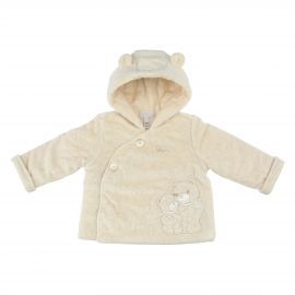 THUN & OVS Teddy hug beige unisex jacket in organic cotton, 3-6 months