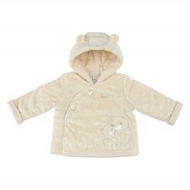 THUN & OVS Teddy hug beige unisex jacket in organic cotton, 3-6months
