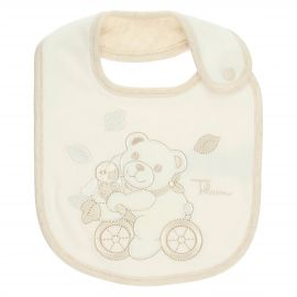 THUN & OVS Teddy hug white boy's bib with button in organic cotton