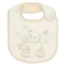 Bavetta bianca bimbo con bottone THUN & OVS in cotone biologico Teddy abbraccio