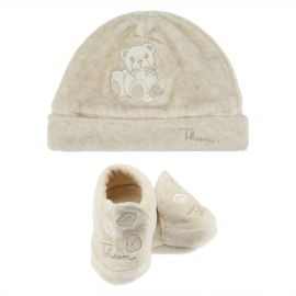 THUN & OVS Teddy hug beige hat and booties in organic cotton