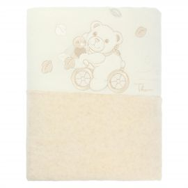 THUN & OVS Teddy hug embroidered white and beige blanket in organic cotton