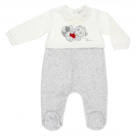 THUN & OVS boys' white and grey romper in chenille featuring Pepito the Raccoon