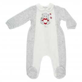 THUN & OVS girls' white and grey romper in chenille featuring Pepito the Raccoon
