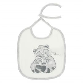 THUN & OVS Pepito the Raccoon white and grey bib in organic cotton