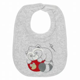 THUN & OVS Pepito the Raccoon grey bib in organic cotton