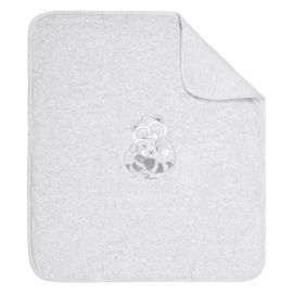 THUN & OVS Pepito the Raccoon grey embroidered blanket in organic cotton