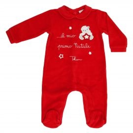 THUN & OVS red romper in chenille featuring Paul the Polar Bear