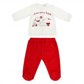 THUN & OVS white and red long-sleeved romper suit set in chenille featuring Paul the Polar Bear