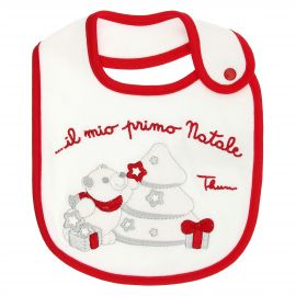 THUN & OVS Paul the Polar Bear white and red bib in organic cotton