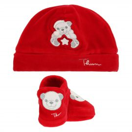 THUN & OVS Paul the Polar Bear red hat and booties in chenille