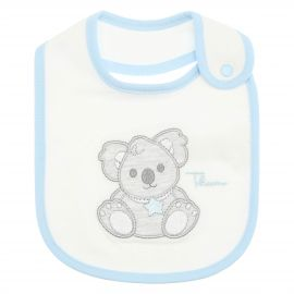 THUN & OVS white Koala baby boy's bib in organic cotton