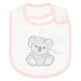 THUN & OVS white Koala baby girl's bib in organic cotton