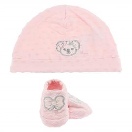 THUN & OVS Koala baby pink hat and booties in organic cotton
