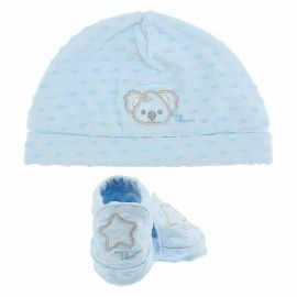 THUN & OVS Koala baby blue hat and booties in organic cotton