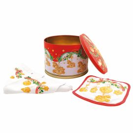 Pack tin box, tea towel and potholder Dolce Natale