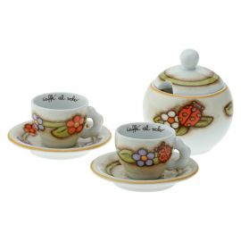 Set 2 espresso cups with sugarbowl Country