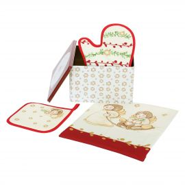 "Gift set oven glove, potholder and canvas ""Dolce Natale"""