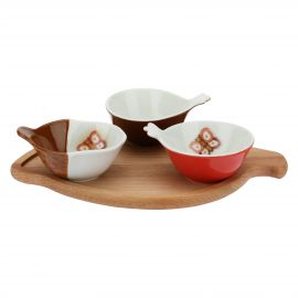 Wooden tray with 3 porcelain bowls Autunno
