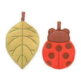 Gift set 2 potholders leaf and ladybird