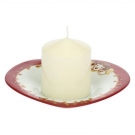Candle with heart-shaped plate