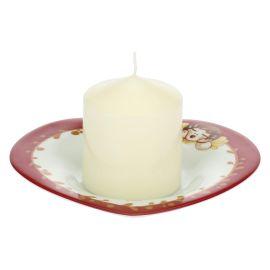 Candela con piattino in porcellana a forma di cuore