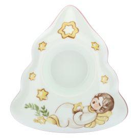 """Porta candela in porcellana a forma di alberello """"Dolce Natale"""""""