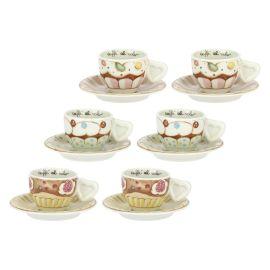 """Set 6 Kaffeetassen """"New sweet cake"""""""