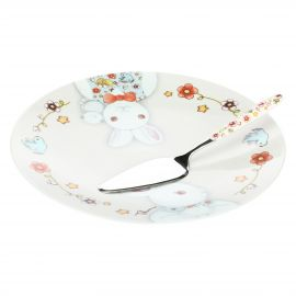 "Big plate with cake server ""Magic rabbit"""