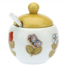 Country porcelain sugar bowl with spoon
