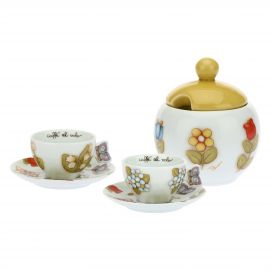 Set 2 coffee cups and sugar bowl Country