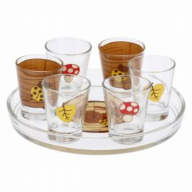 "Set tray und 6 glasses ""Bosco incantato"""