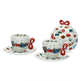 "Set 2 coffee cups with sugar bowl ""Chiaro di luna"""