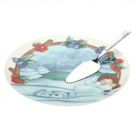 "Set big plate ""Chiaro di luna"" with cake server"
