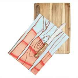 "Set bread chopping board with knife and canvas ""Frutti rossi"""