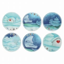 "Set 6 glass mats ""Chiaro di luna"""