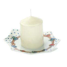 """Candela con piattino porta candela a forma di foglia """"Chiaro di luna"""""""
