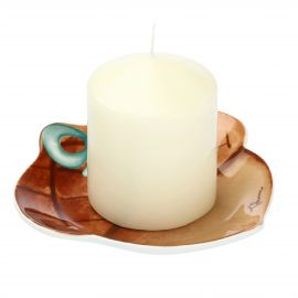 "Candle with acorn-shaped candle holder plate ""Chiaro di luna"""