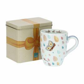 """Mug con scatola in latta """"Pioggia di colori"""""""