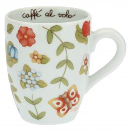 Country mug with colourful flowers and butterfly