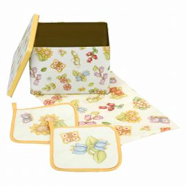 Set tin box with canvas and 2 pot holders Country