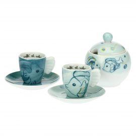Set 2 tazzine caffè e zuccheriera Mare
