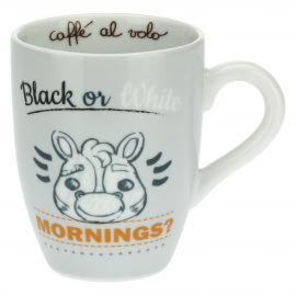 Henkelbecher mit Zebra – Black or white mornings?