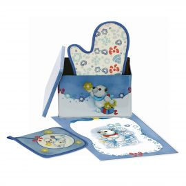 Dolce Inverno tin set including oven glove pot holder and tea towel