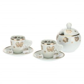 Set of 2 Gold Icons coffee cups with sugar bowl
