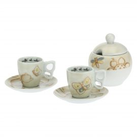 Set of 2 Elegance coffee cups with sugar bowl