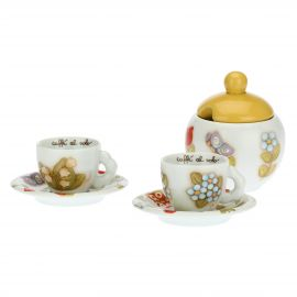 Set of 2 Country coffee cups with sugar bowl